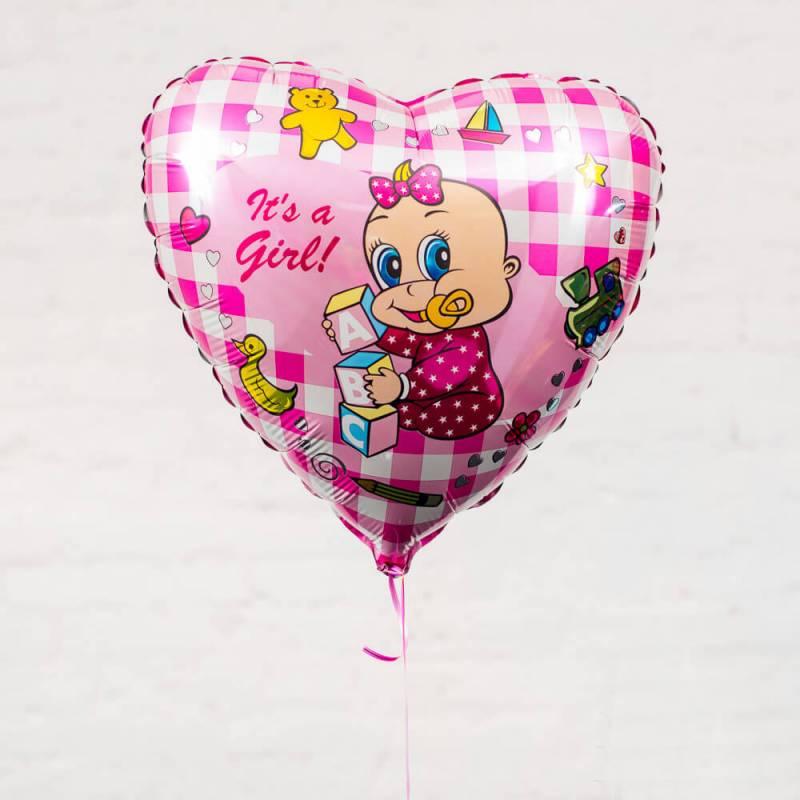 Шар из фольги для выписки из роддома  «Сердечко для девочки»