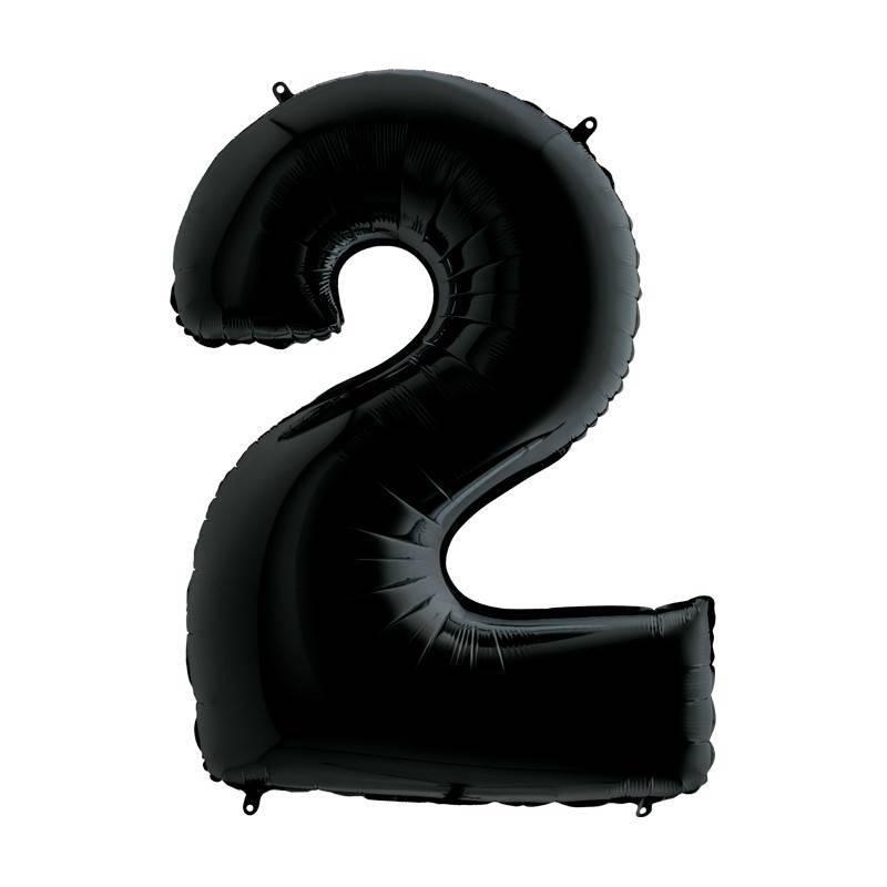 Шар из фольги «Цифра  2 (черная)»