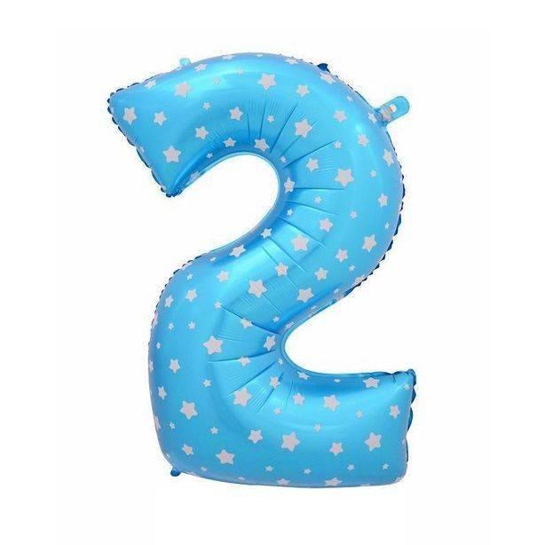 Шар из фольги «Цифра  2 (голубая со звездами)»