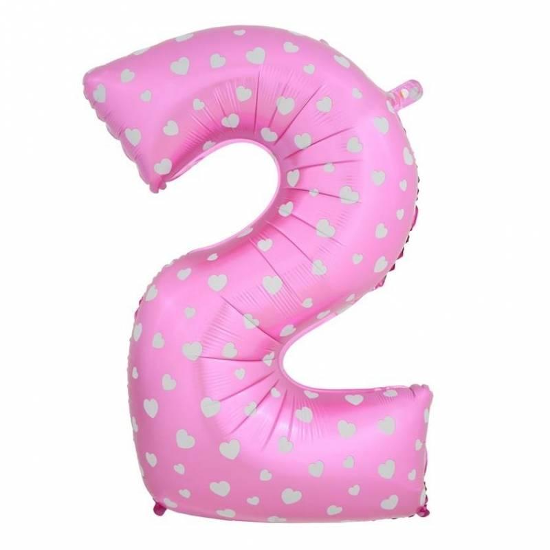 Шар из фольги «Цифра  2 (розовая с сердцами)»