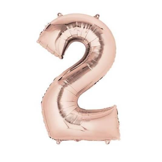 Шар из фольги «Цифра  2 (розовое золото)»