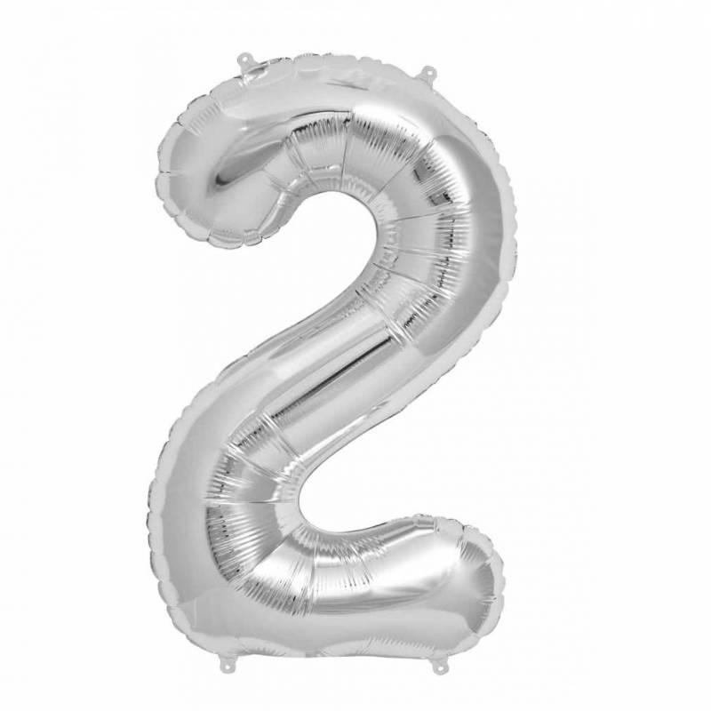 Шар из фольги «Цифра  2 (серебро)»
