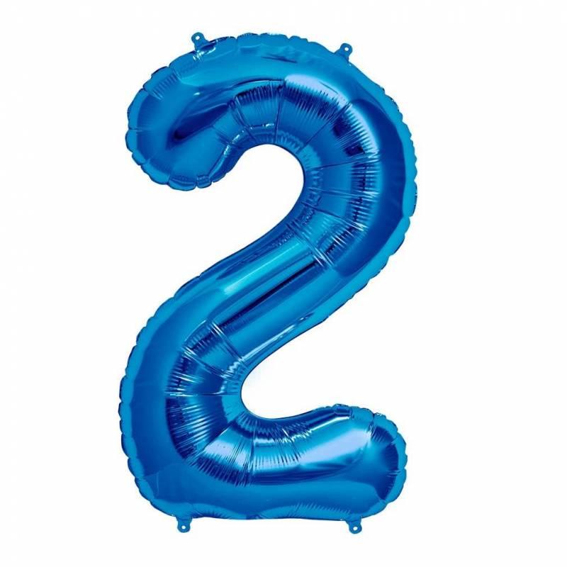 Шар из фольги «Цифра  2 (синяя)»