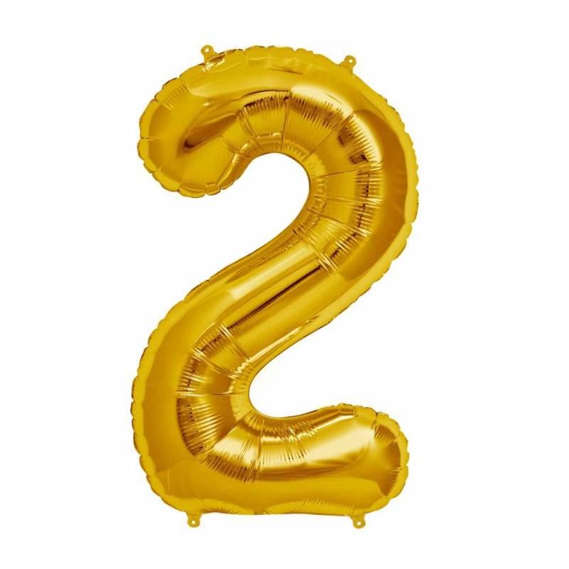 Шар из фольги «Цифра  2 (золото)»