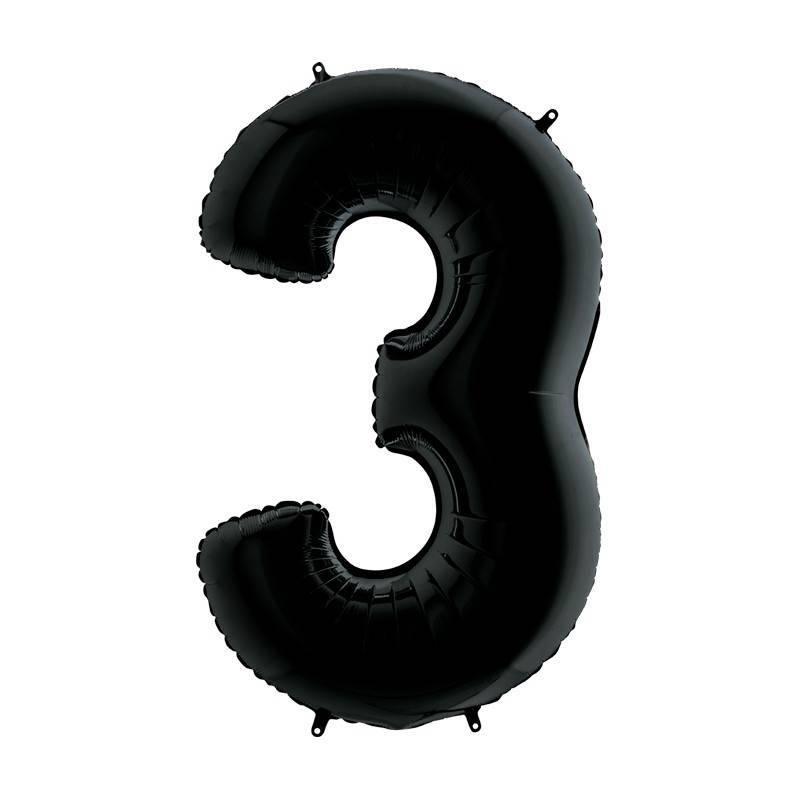 Шар из фольги «Цифра  3 (черная)»