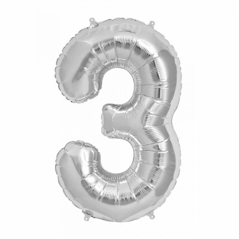 Шар из фольги «Цифра  3 (серебро)»
