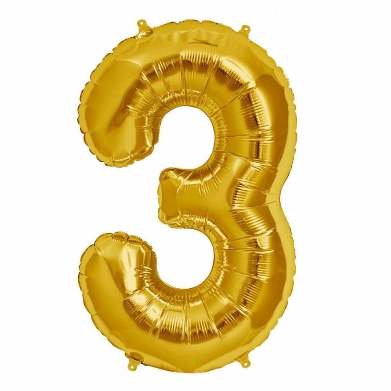 Шар из фольги «Цифра  3 (золото)»