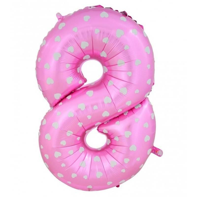 Шар из фольги «Цифра 8 (розовая с сердцами)»