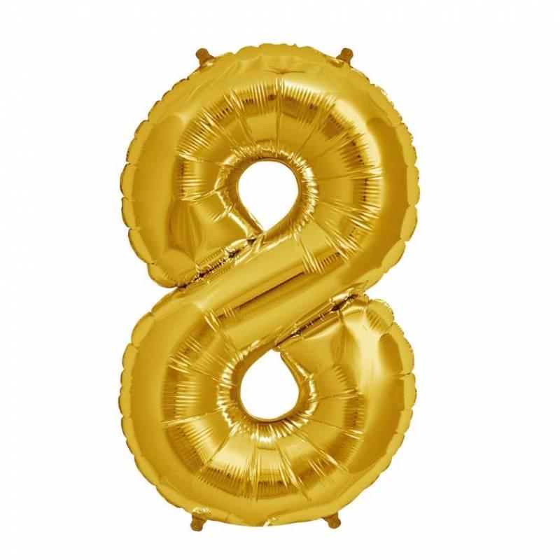 Шар из фольги «Цифра 8 (золото)»