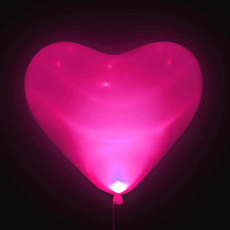 "Шар светящийся в темноте ""Сердце розовое """