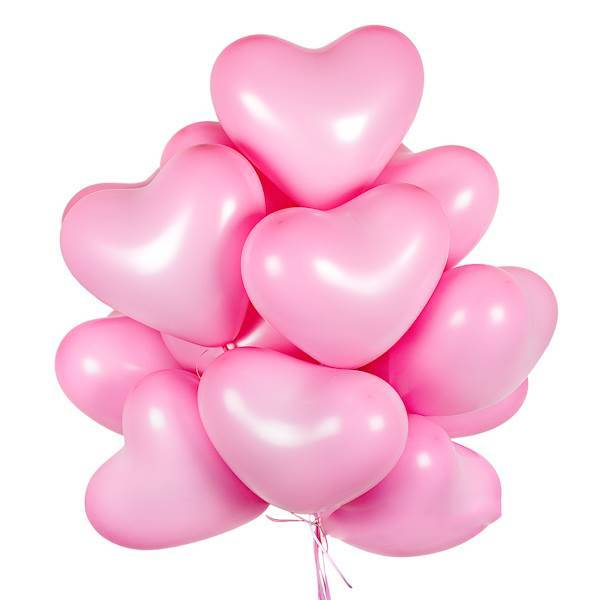 Шар в форме сердечка. Нежно розовый.