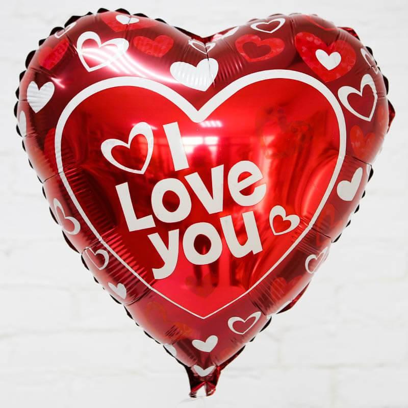"""Шар в форме сердца-фольгированный """"I love you"""""""