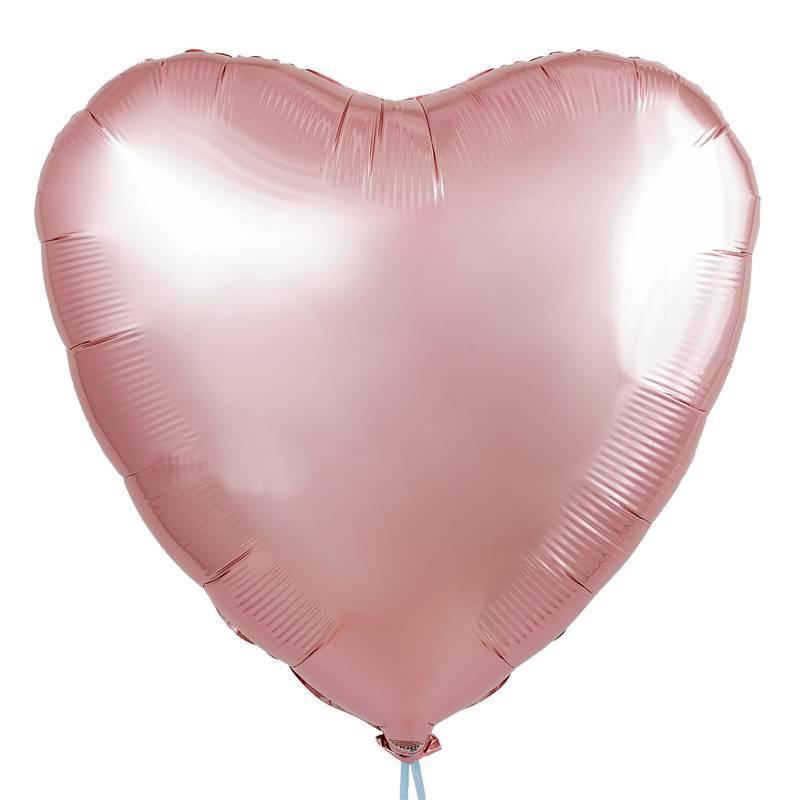 Шар из фольги « Сердце розовое золото»