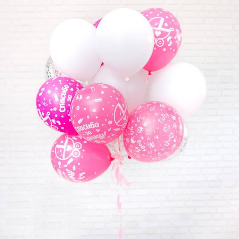 Связка из воздушных шариков с рисунком на выписку из роддома девочки