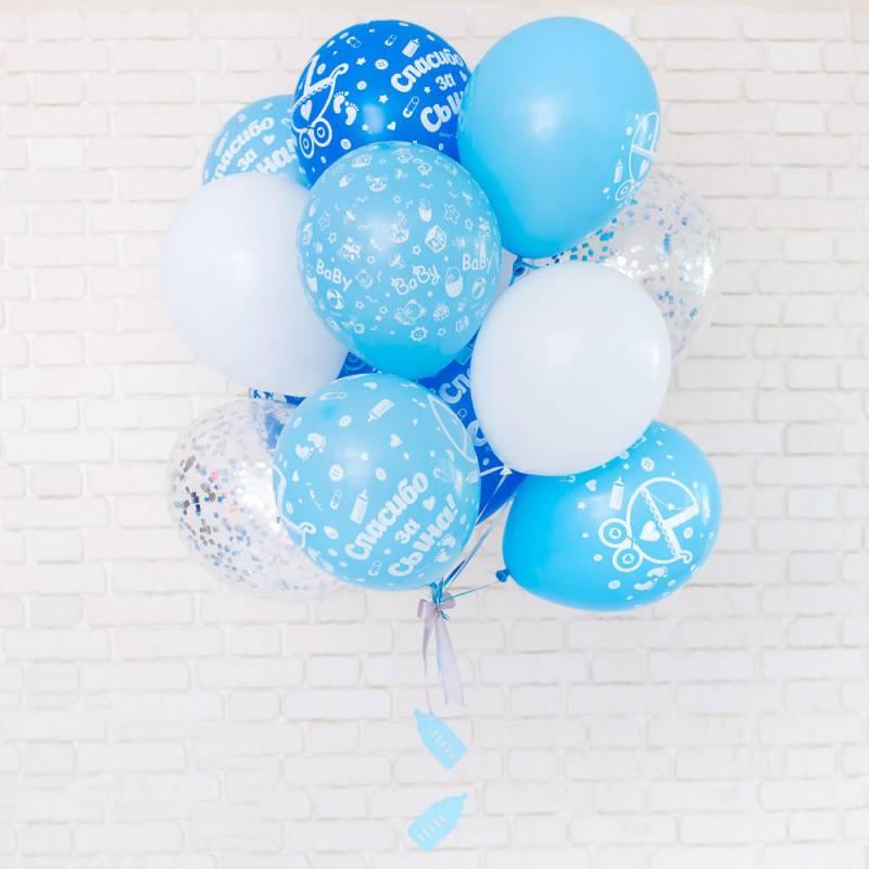 Связка из воздушных шариков с рисунком на выписку из роддома мальчика