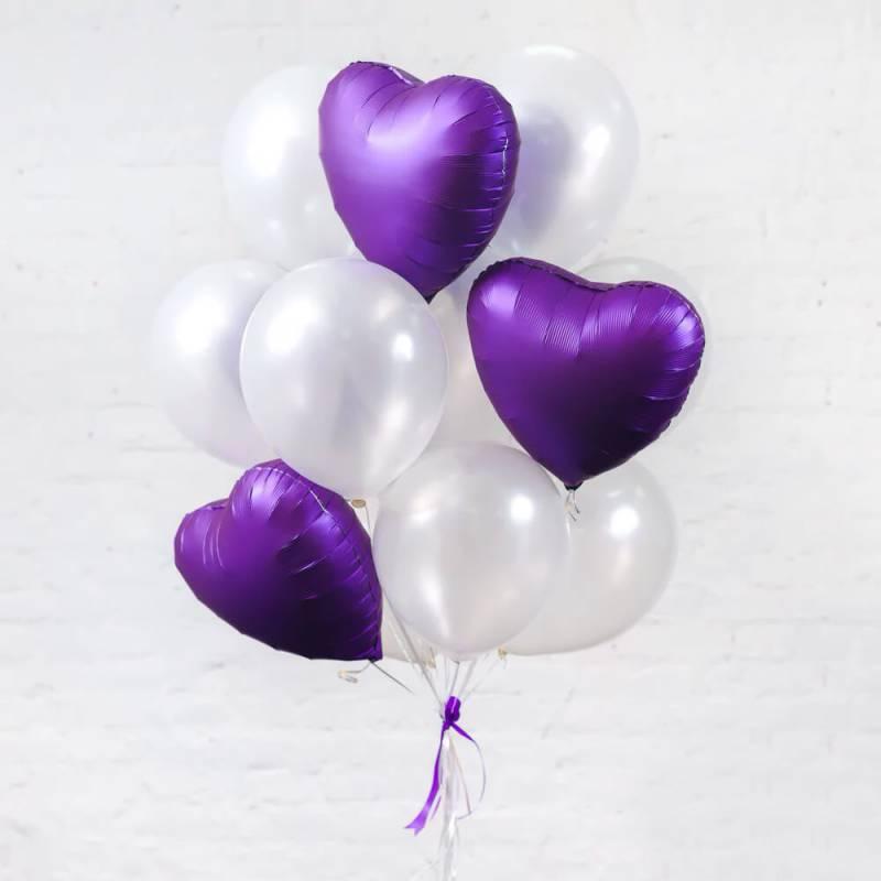 Связка шаров с фиолетовыми сердцами