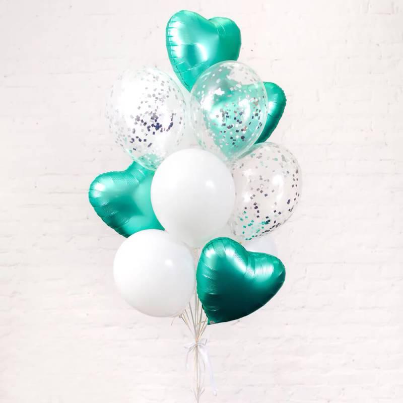 """Связка шаров с фольгированными сердцами """" Тиффани"""""""