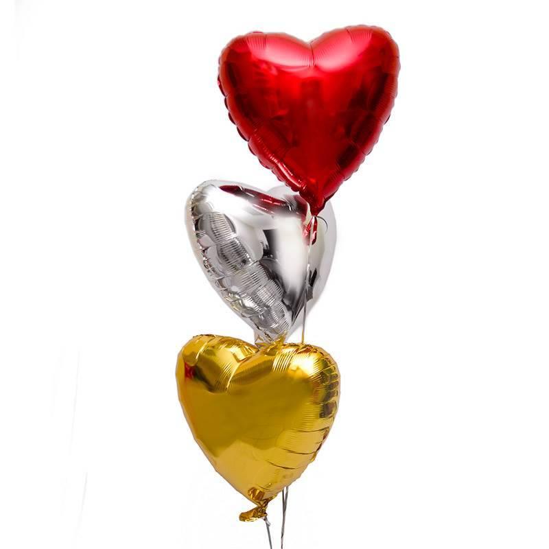 """Связка шаров """"Три сердца"""""""