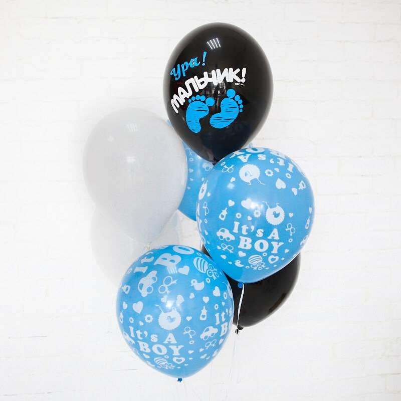Связка воздушных шаров для выписки из роддома мальчика