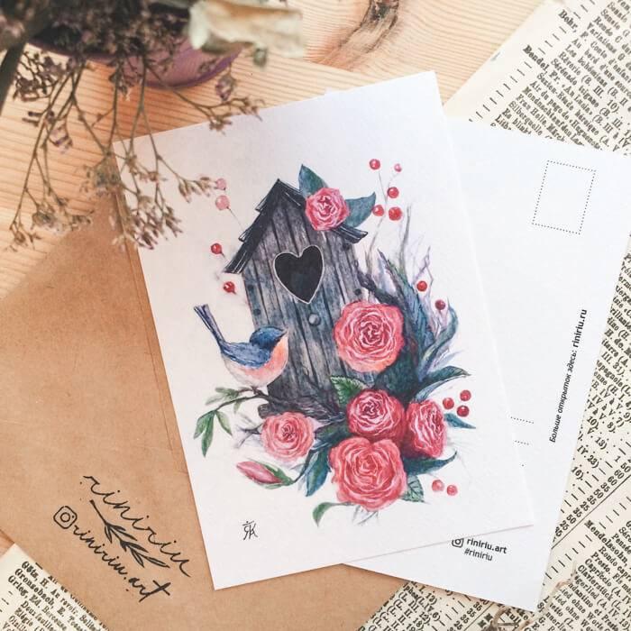 """Открытка ручной работы в конверте """"С любовью"""""""