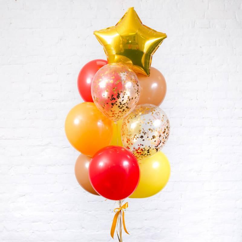 Яркий фонтан из шаров для оформления выпускного